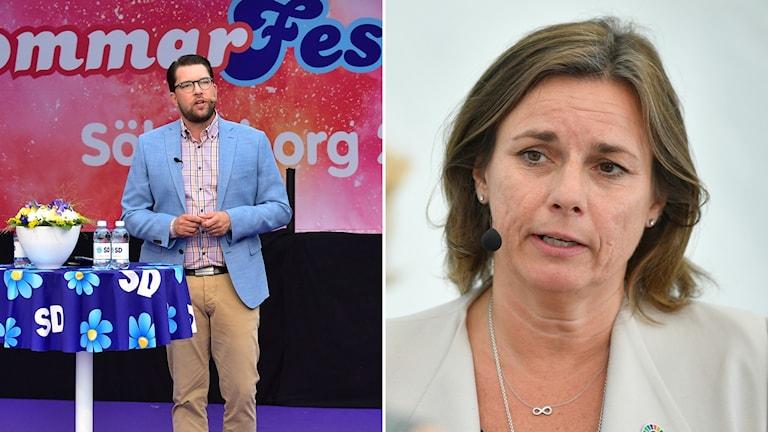 Jimmie Åkesson (SD) och Isabella Lövin (MP)