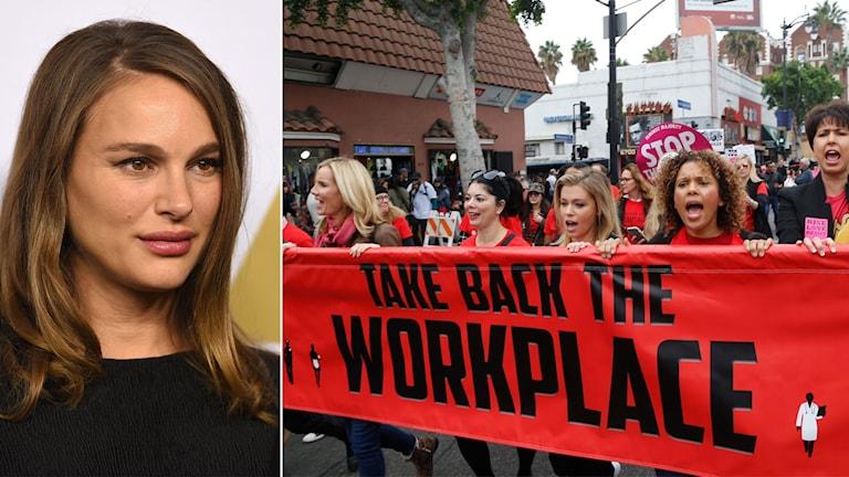 Delad bild: Kvinna och ett demonstrationståg med en banderoll: ta tillbaka arbetsplatserna.