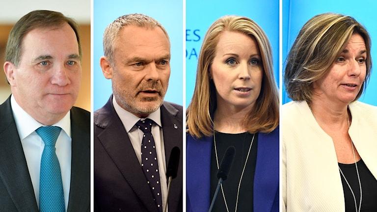 Stefan Löfven (S), Jan Björklund (L), Annie Lööf (C), Isabella Lövin (MP)