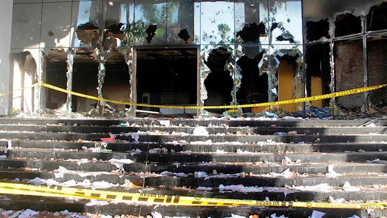 Kongressbyggnaden i Asuncion sattes i eld under fredagskvällen.