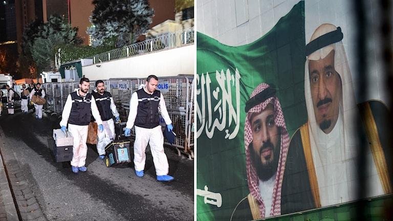 utredare och en bild på saudiske kronprinsen och kungen.