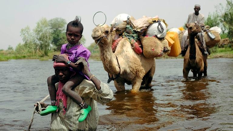 Människor runt Tchadsjön på flykt undan Boko Haram efter de första dödliga attackerna i området 2015.