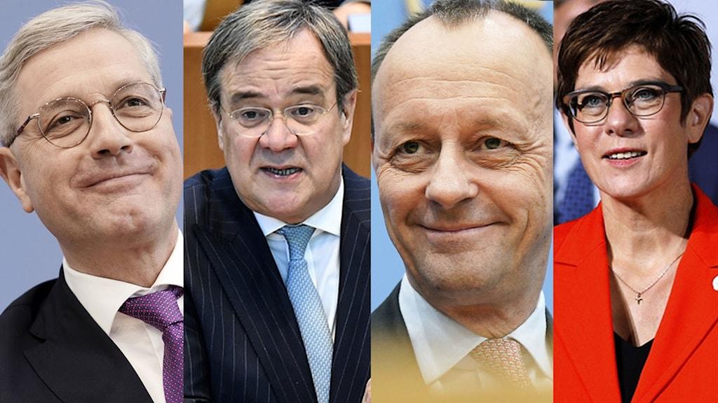 Kandidaterna Norbert Röttgen, Armin Laschet, Friedrich Merz och sittande partiledaren Annegret Kram-Karrenbauer.