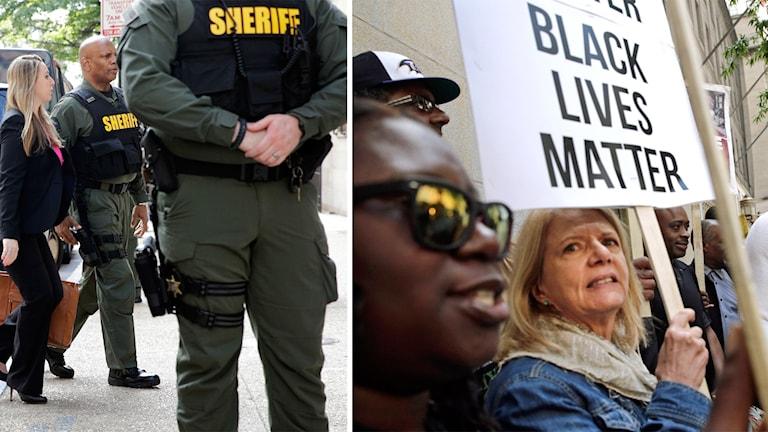 Protester utanför rättssalen i Baltimore.