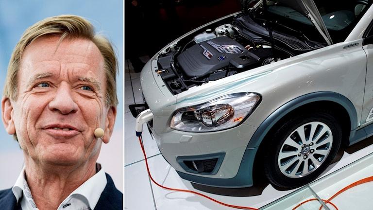 Ansiktsbild Håkan Samuelsson, VD Volvo Cars och en Volvo-bil som laddas