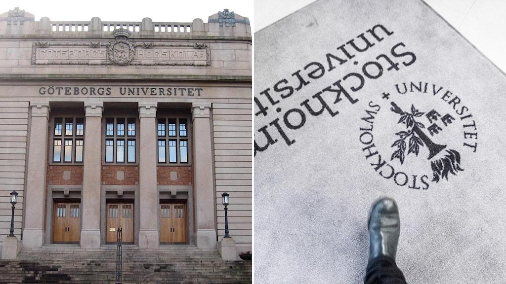 Aulan vid Göteborgs universitet och en dörrmatta från Stockholms universitet.