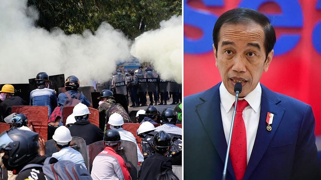 Indonesiens president Joko Widodo kräver att Myanmars militär slutar använda våld.
