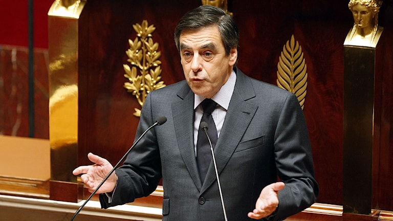 Franske premiärministern François Fillon i Nationalförsamlingen. Foto: Remy de la Mauviniere/Scanpix.