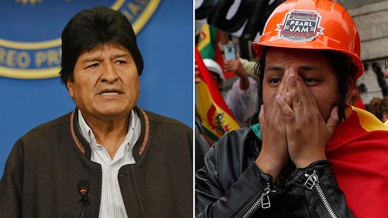 Evo Morales och en demonstrant på gatorna i huvudstaden La Paz.