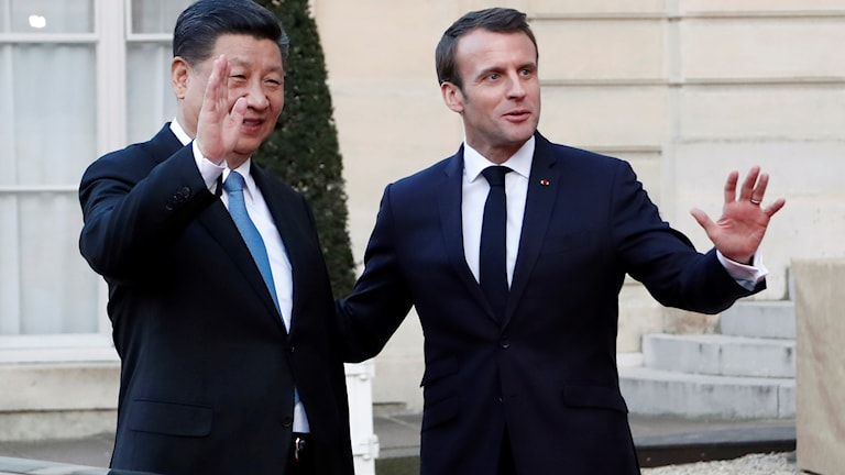 Xi Jinping och Emmanuel Macron under statsbesöket.