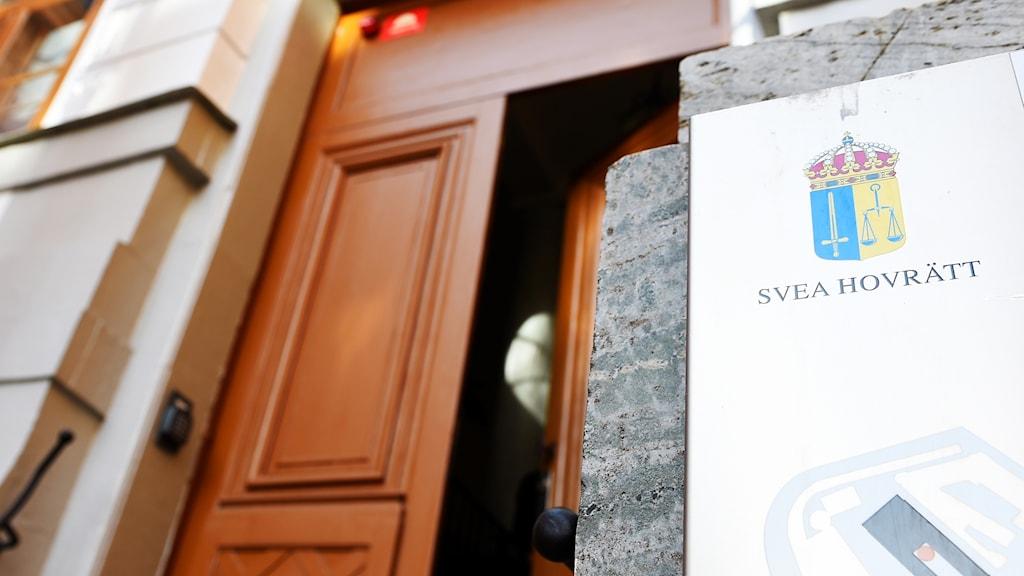 Ingången till Svea Hovrätt i Stockholm.