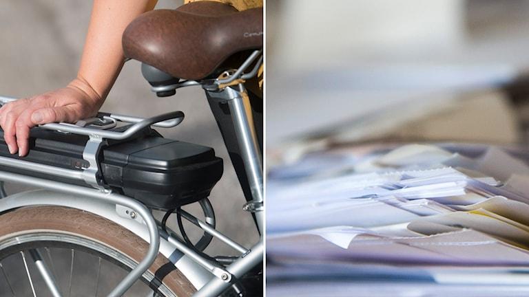 Tvådelad bild: Elcykelbatteri och pappershög.