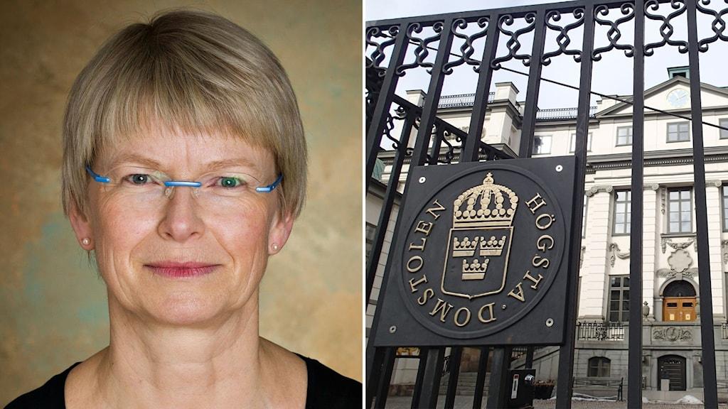 Delad bild: Kvinna mot beige bakgrund och Högsta domstolens byggnad i Stockholm.