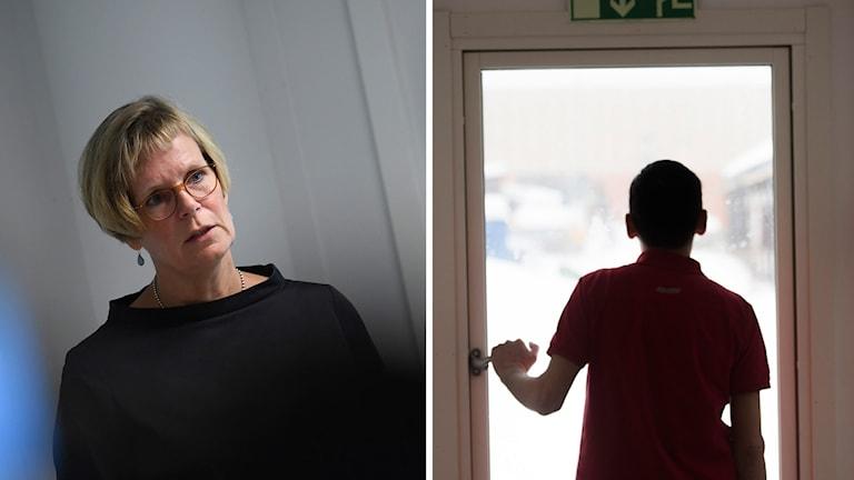 Ann Lemne, projektledare Rättsmedicinalverket, och en ensamkommande. Fredrik Sandberg/Marcus Ericsson/TT. Montage: Sveriges Radio.