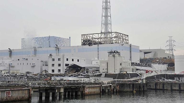 Reaktorerna 1 och 2 (t v) vid kärnkraftverket i Fukushima. Foto: Scanpix.