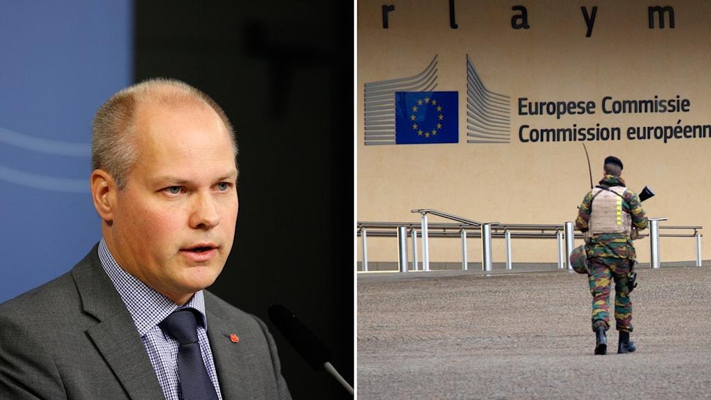 Morgan Johansson och belgisk soldat utanför EU-kommissionen
