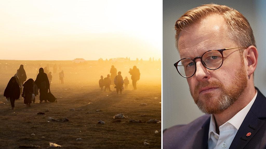 IS-anhängare och Mikael Damberg.