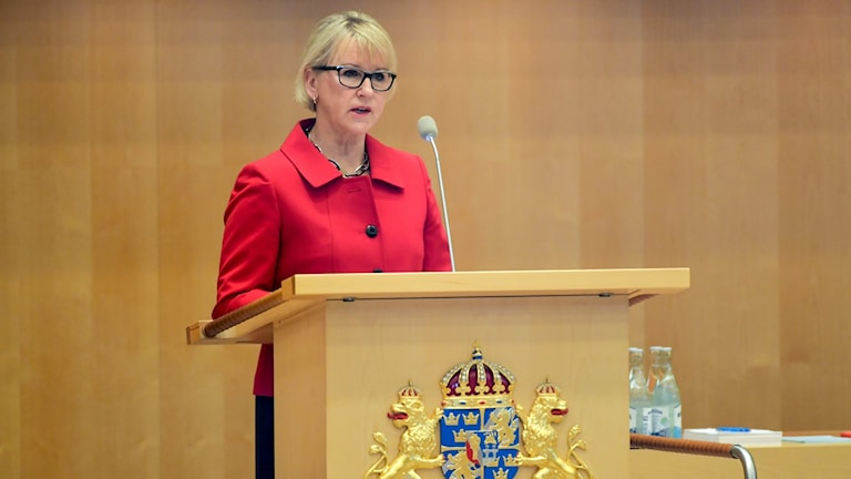 Foreign minister Margot Wallström presenting the government's statement of foreign policy.