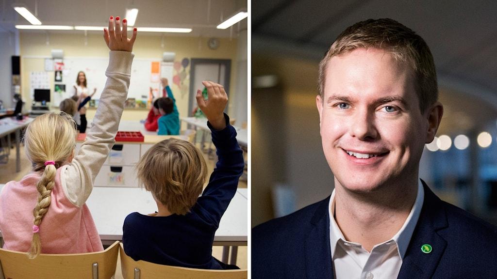 Mixbild: Först en på elever i ett klassrum, sedan en bild på utbildningsministern Gustav Fridolin (MP).