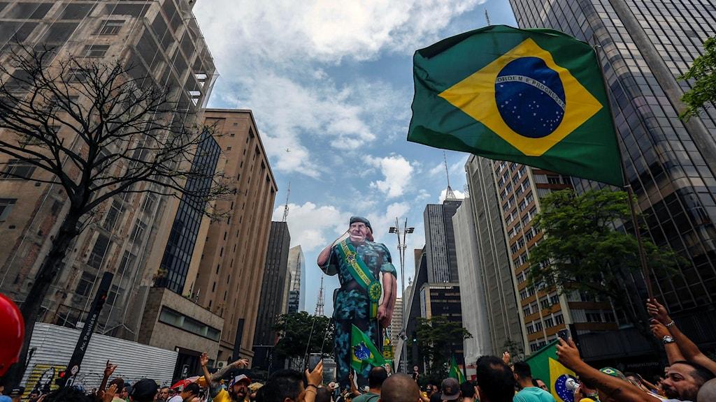 ANhängare till kandidaten Jair Bolsonaro i Brasilien.