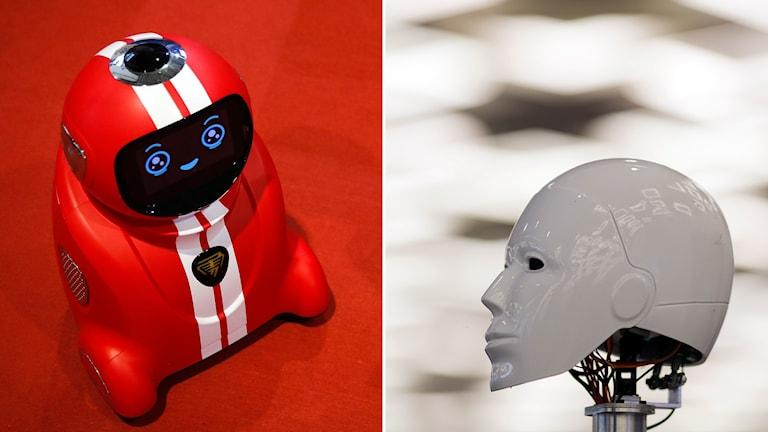 Två robotar, varav en ser ut som ett mänskligt huvud.