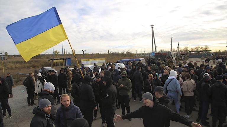 Ukrainska arméveteraner och volontärer nära byn Zolote i Luthanskregionen, Ukraina
