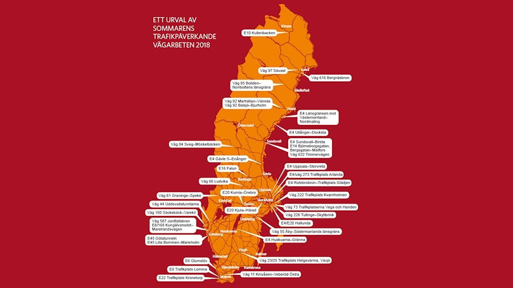 Karta över Trafikverkets vägarbeten i sommar.