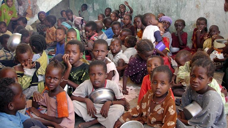 Barn i Somalia väntar på mat. Foto: Mustafa Haji Abdinur/Scanpix