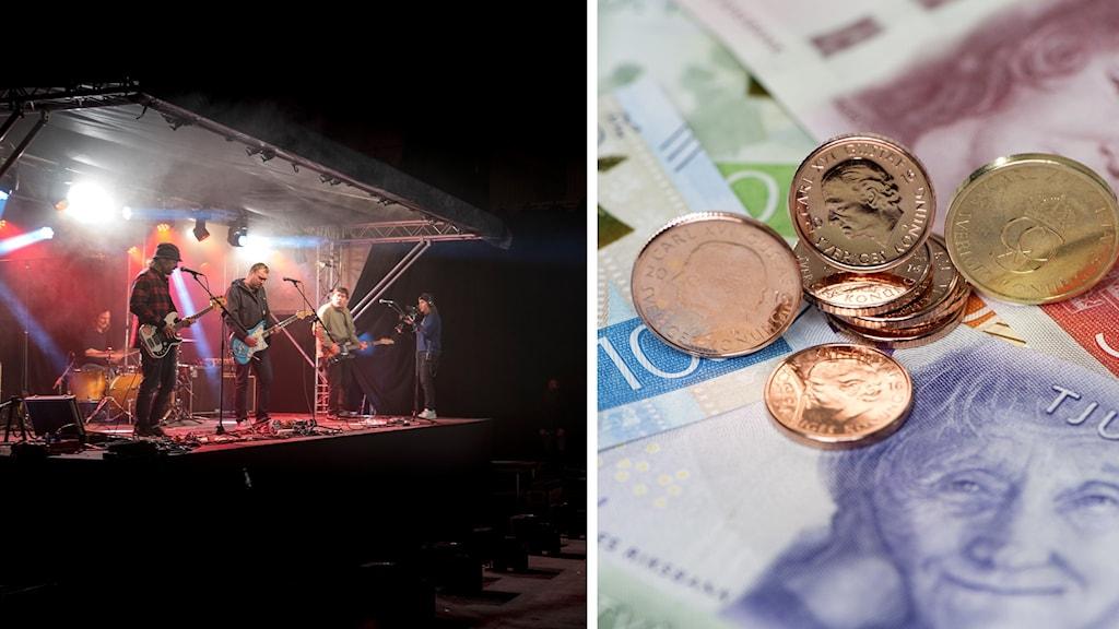 Tvådelad bild på en utomhuskonsert och svensk valuta.