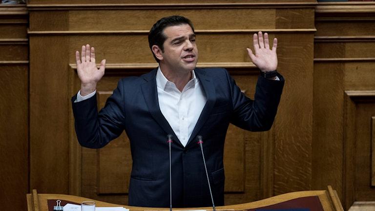 Greklands premiärminister Alexis Tsipras talar inför parlamentet innan åtstramningspaketet röstades igenom.