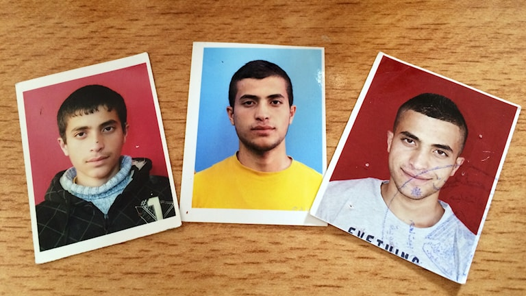 Mamma Ysras foton av den gripne Malek Al-Qadi när han var 13, 18 och 19 år gammal.