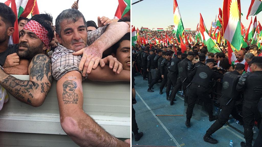 Bildkollage med en man som visar en tatuering och uniformerad personal vid en folkmassa.