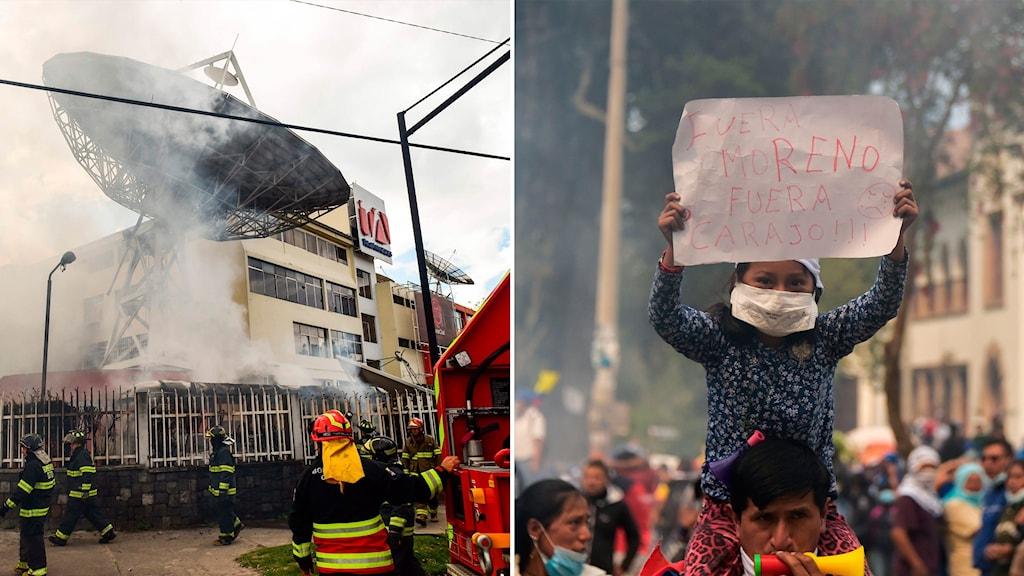 """Delad bild: Tv-station som brinner, protestant som håller en skylt där det står """"Ut med Moreno"""""""