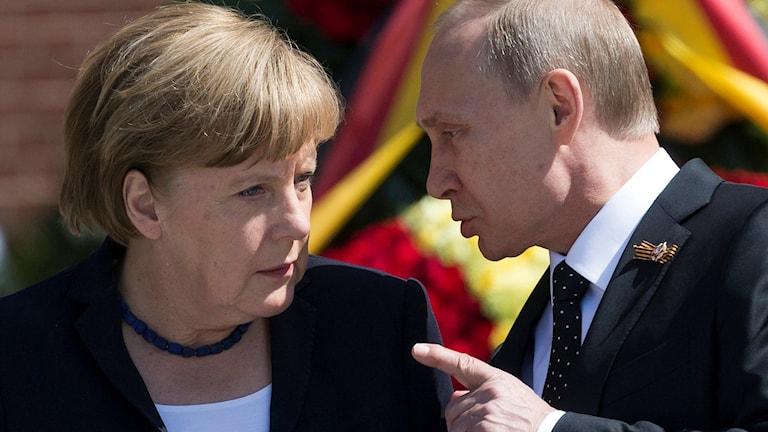 Angela Merkel och Vladimir Putin.