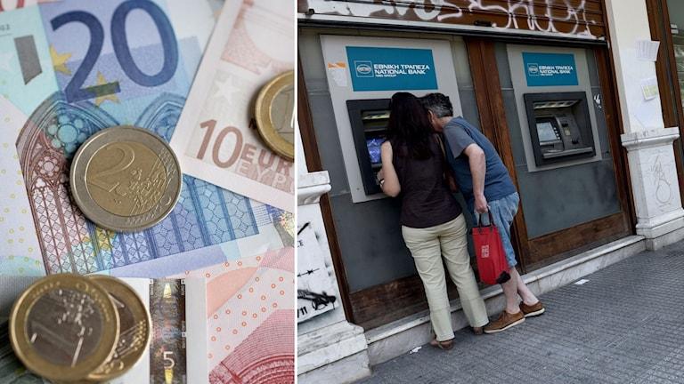 Euro, några personer vid en bankomat i Grekland.