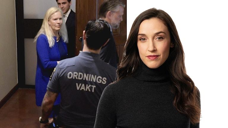Till vänster: Anna Lindstedt på väg in i rättssalen. Till höger: Ekots Kinakommentator och tidigare korrespondent Hanna Sahlberg.