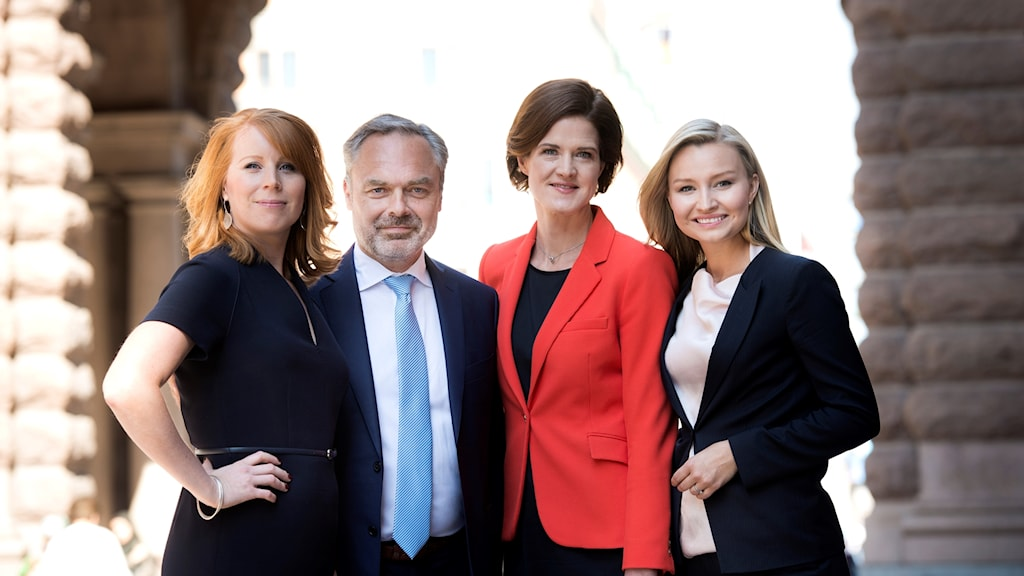Alliansens partiledare. Annie Lööf (C), Jan Björklund (L), Anna Kinberg Batra (M), Ebba Busch Thor (KD).