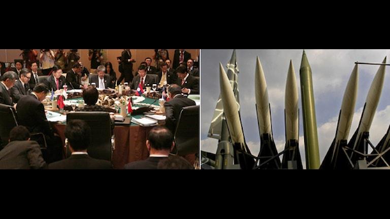 Delegater vid ASEAN-möte och missiler. Foto: Firdia Lisnawati och Vincent Yu/Scanpix.