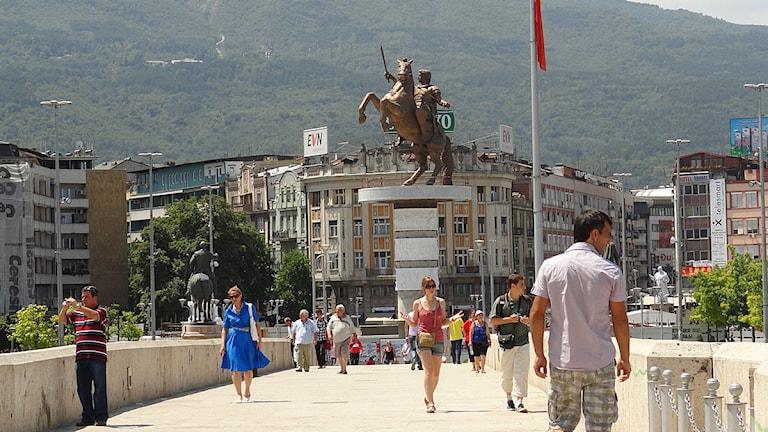 Staty över Alexander den store i Skopje. Foto: Vladislav Savic.
