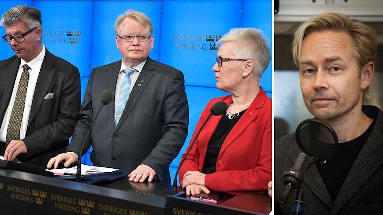 Hans Wallmark (M), försvarsminister Peter Hultqvist (S) och Åsa Lindestam (S). Ekots politiska kommentator Fredrik Furtenbach.