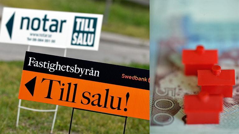 """Montage av skyltar med texten """"Till salu"""" och monopolhus på en 500 kronors sedel."""