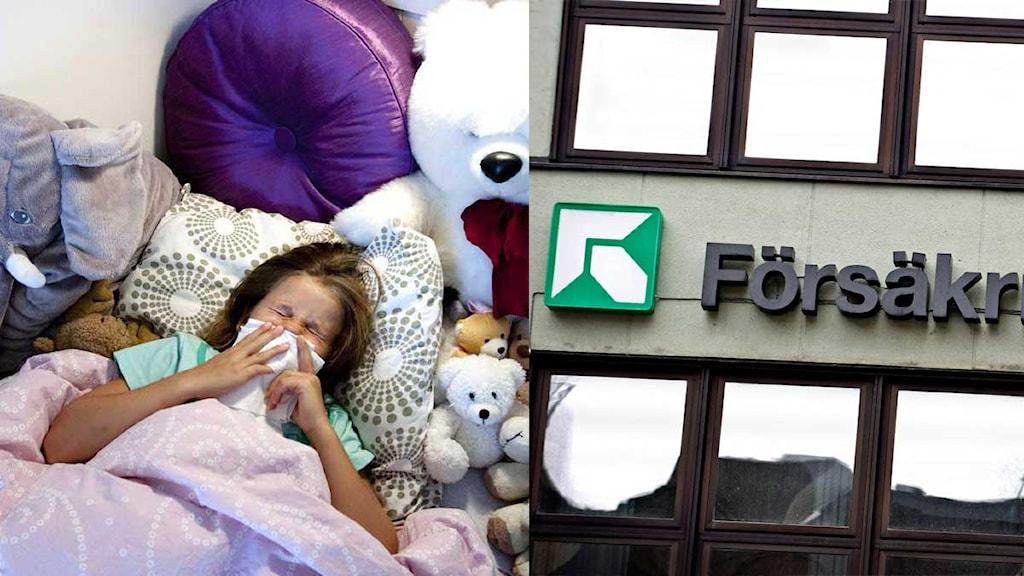 Montage av ett sjukt barn i en säng och Försäkringskassans skylt. Foto: Scanpix.