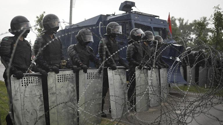 Kravallpolis i Minsk.
