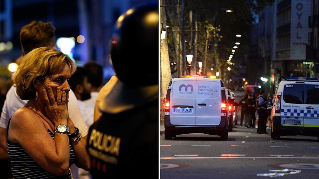 Kvinna bakom polis och fordon på gata.
