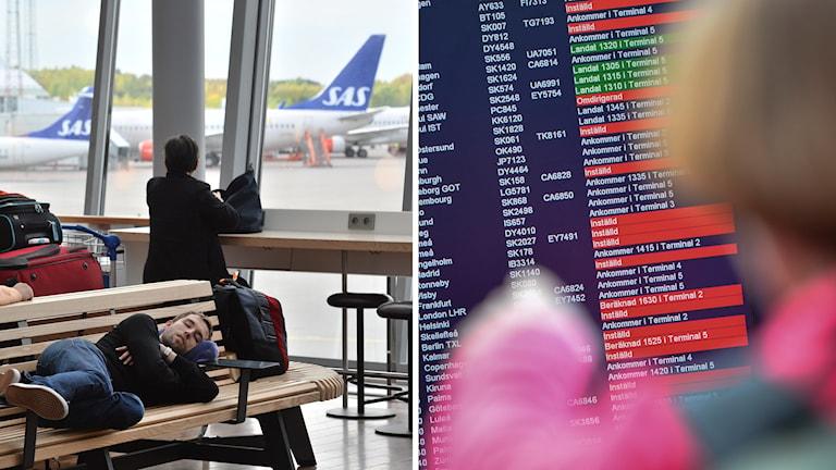 Resenärer väntar på flygplats.