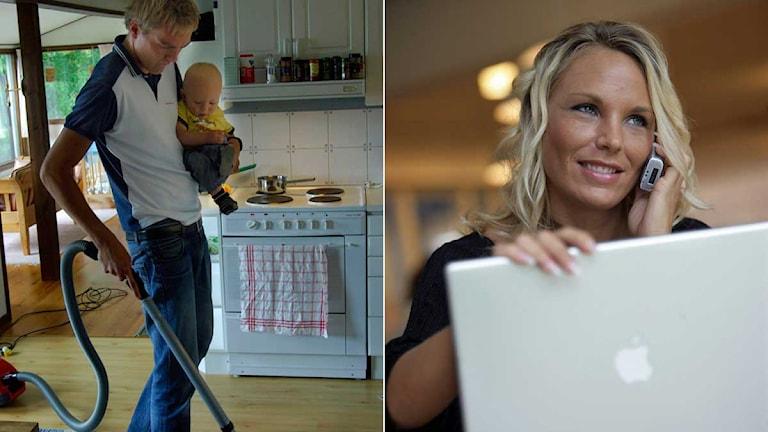 Montage av en man som städar hemma och en kvinna sitter vid en dator. Foto: Scanpix.