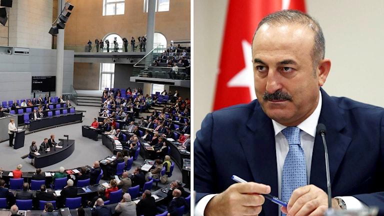 Tysklands Förbundsdag och Turkiets utrikesminister Mevlut Cavusoglu.
