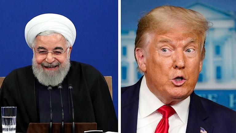 Irans president Hassan Rouhani och USAs president Donald Trump.