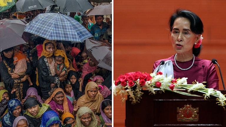 Bildsplitt: Flyktingar och Burmas ledare Aung San Suu Kyi.