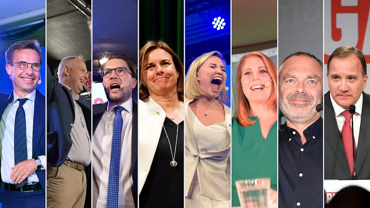 De åtta partiledarna under sina respektive valvakor.